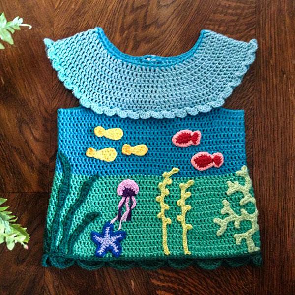 bymami hæklet bluse havets bund applikationer tunika fisk crochet fish ocean blouse