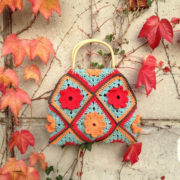 bymami hæklet happy hippie håndtaske | crochet handbag