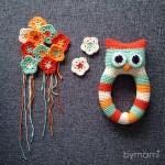 bymami ugle rangle legetøj hækle hæklet opskrift baby børn crochet crocheted pattern owl rattle babytoy