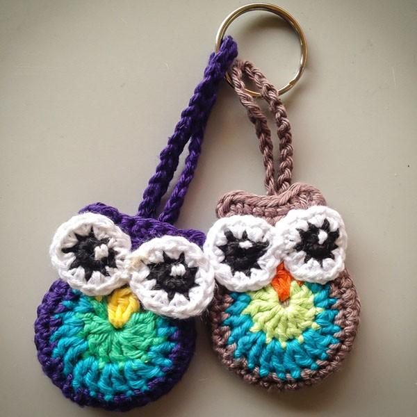 bymami opskrift hæklet ugle nøglering | crochet owl keyhanger pattern