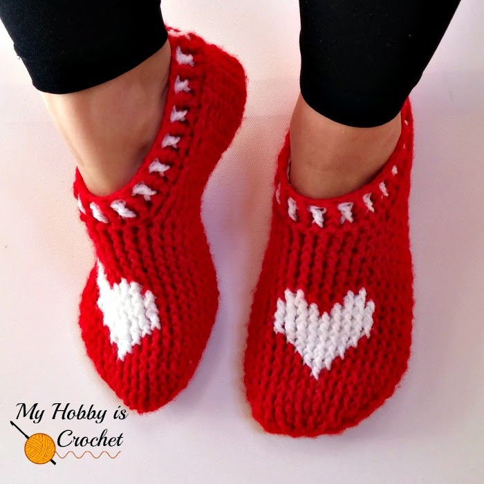 heart graph women crochet slippers