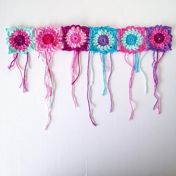 bymami hækle hæklet sommer hat hue blomster firkanter diagram opskrift crochet pattern summer hat beanie square
