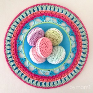 bymami bymamidk hækle hæklet opskrift legemad freebies gratis free pattern playfood crochet crocheted cake cookie kage makron