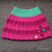 bymami bymamidk blog hækle hæklet crochet crocheted opskrift pattern skirt nederdel skørt knapper buttons dress striber striped